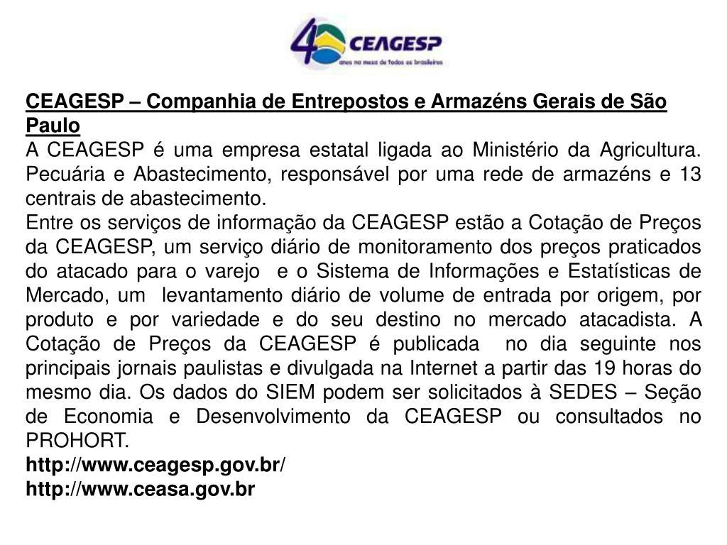 CEAGESP – Companhia de Entrepostos e Armazéns Gerais de São Paulo