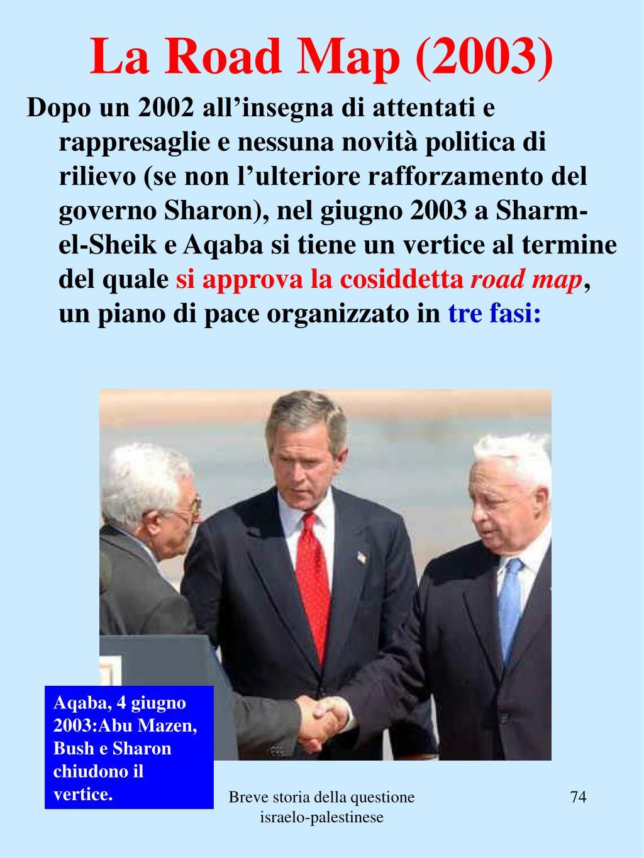 Dopo un 2002 all'insegna di attentati e rappresaglie e nessuna novità politica di rilievo (se non l'ulteriore rafforzamento del governo Sharon), nel giugno 2003 a Sharm-el-Sheik e Aqaba si tiene un vertice al termine del quale
