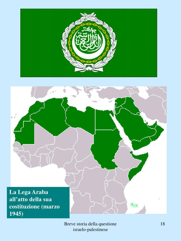 La Lega Araba all'atto della sua costituzione (marzo 1945)