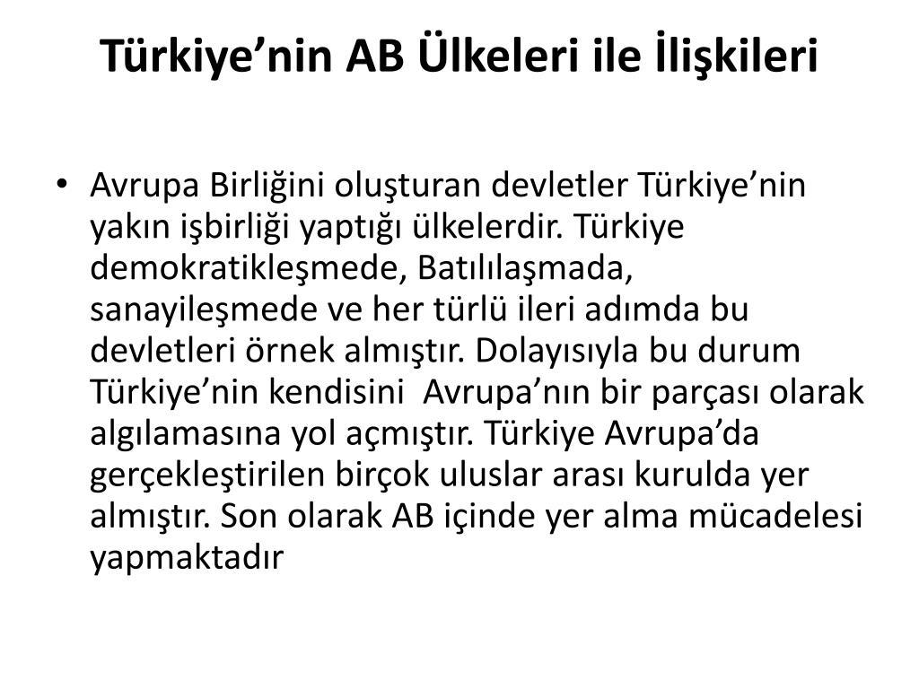 Türkiye'nin AB Ülkeleri ile İlişkileri