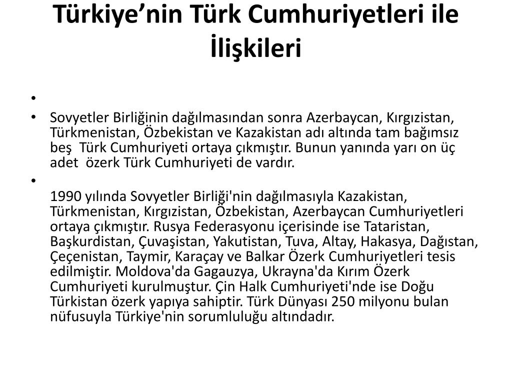 Türkiye'nin Türk Cumhuriyetleri ile İlişkileri