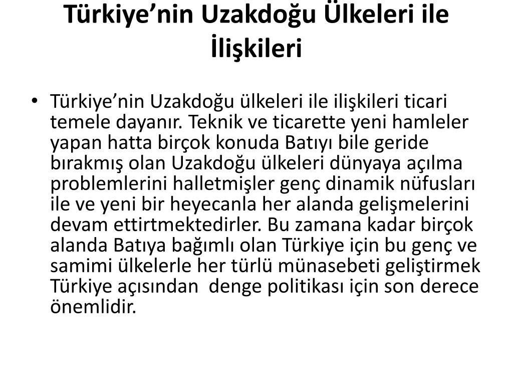 Türkiye'nin Uzakdoğu Ülkeleri ile İlişkileri