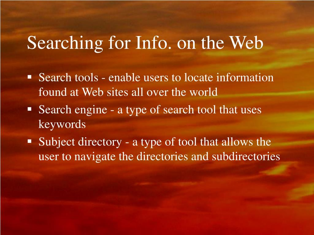 Searching for Info. on the Web