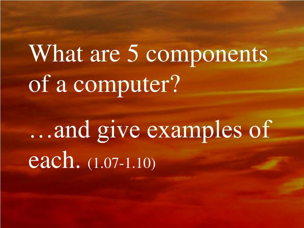 What are 5 components of a computer?