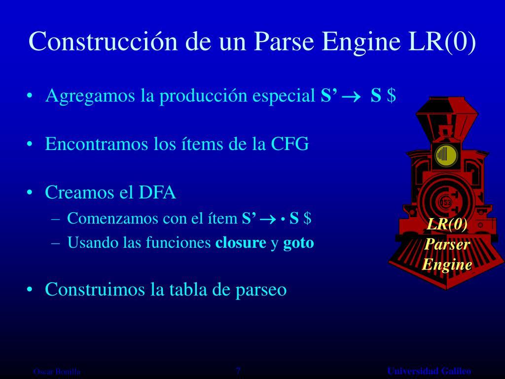 Construcción de un Parse Engine LR(0)