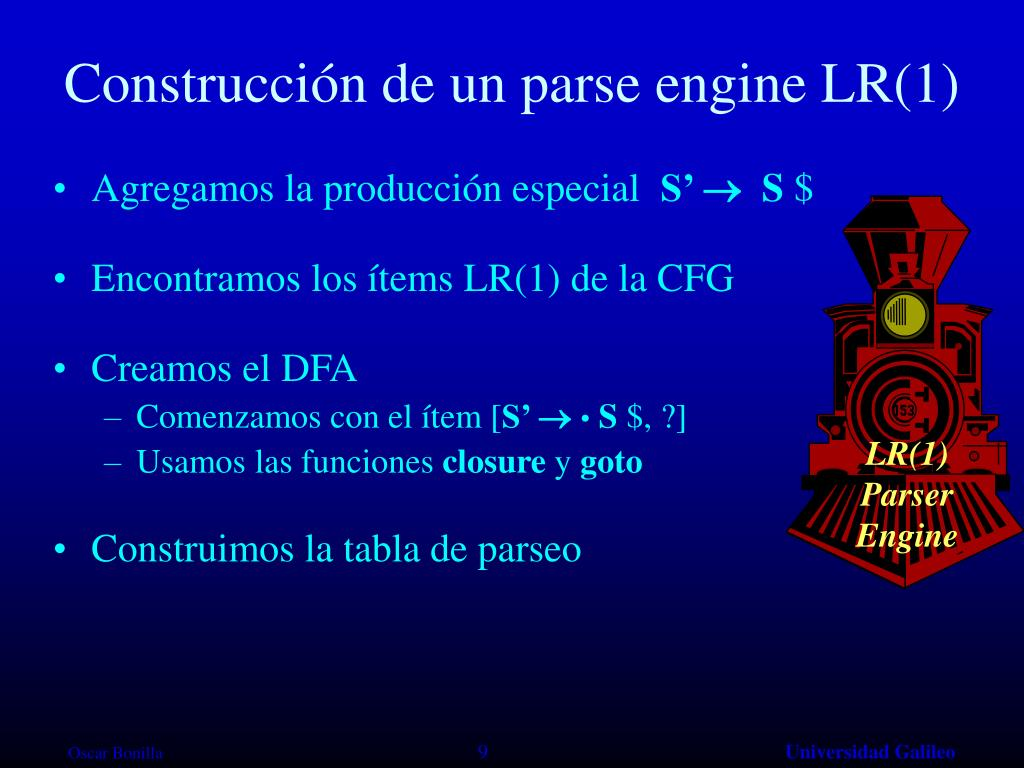 Construcción de un parse engine LR(1)