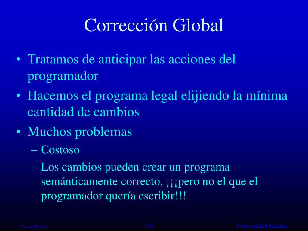 Corrección Global
