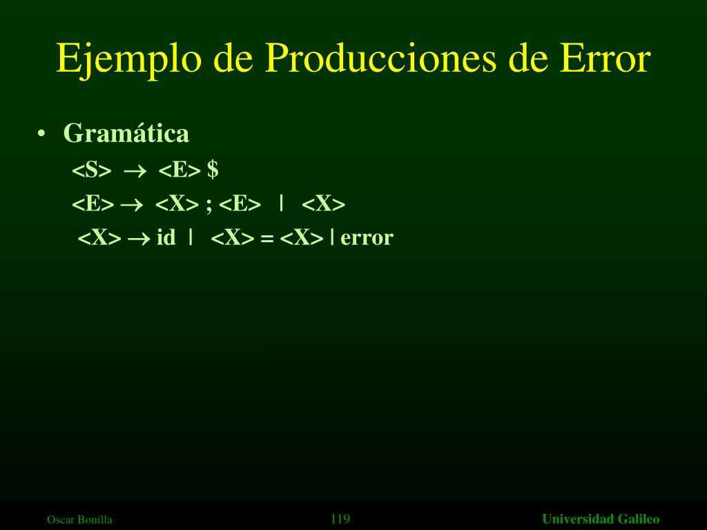 Ejemplo de Producciones de Error