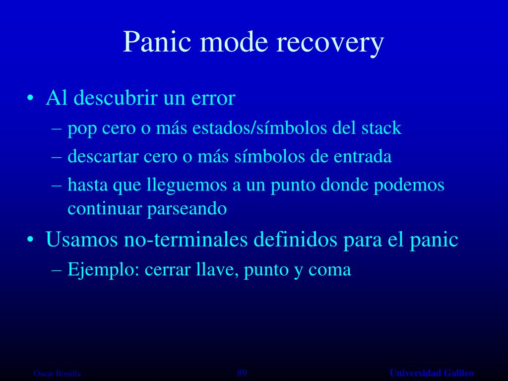 Panic mode recovery