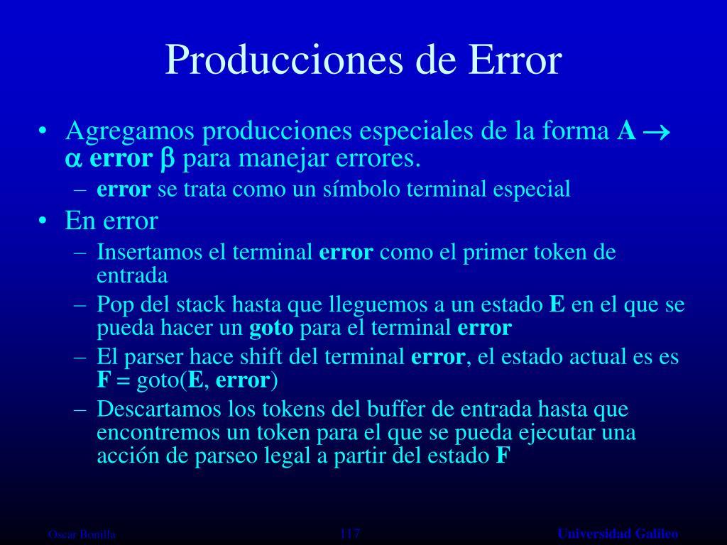 Producciones de Error