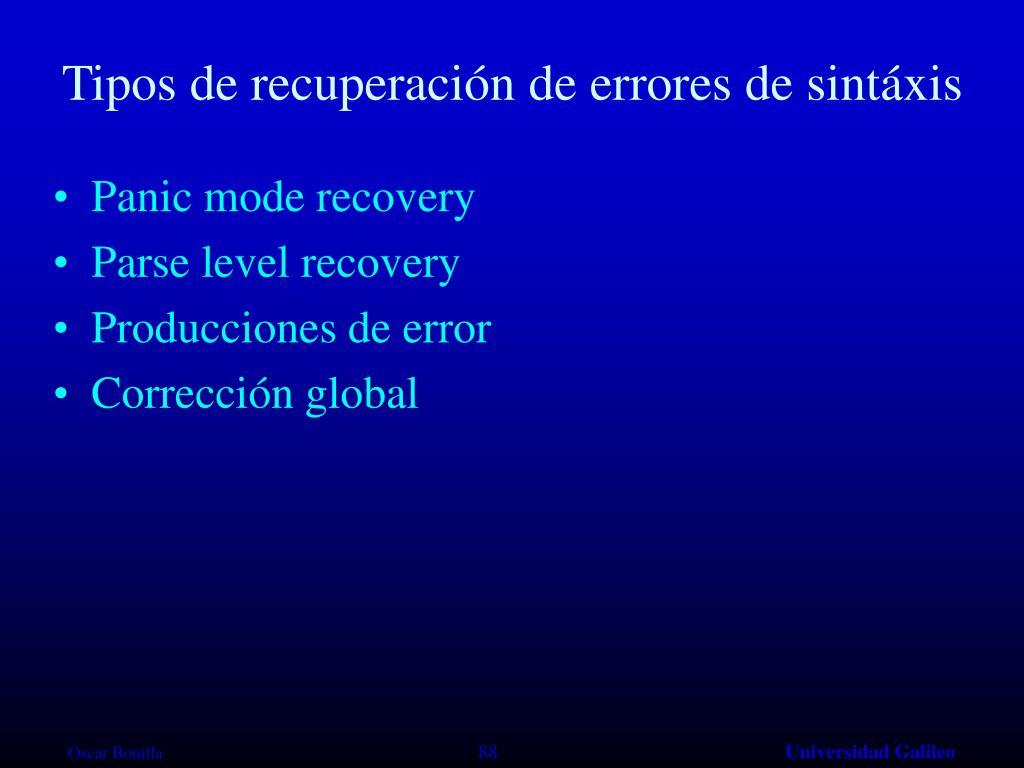 Tipos de recuperación de errores de sintáxis