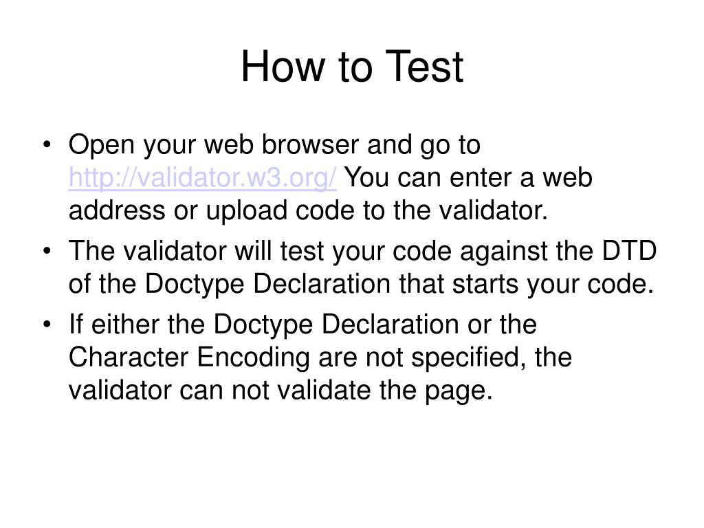 How to Test