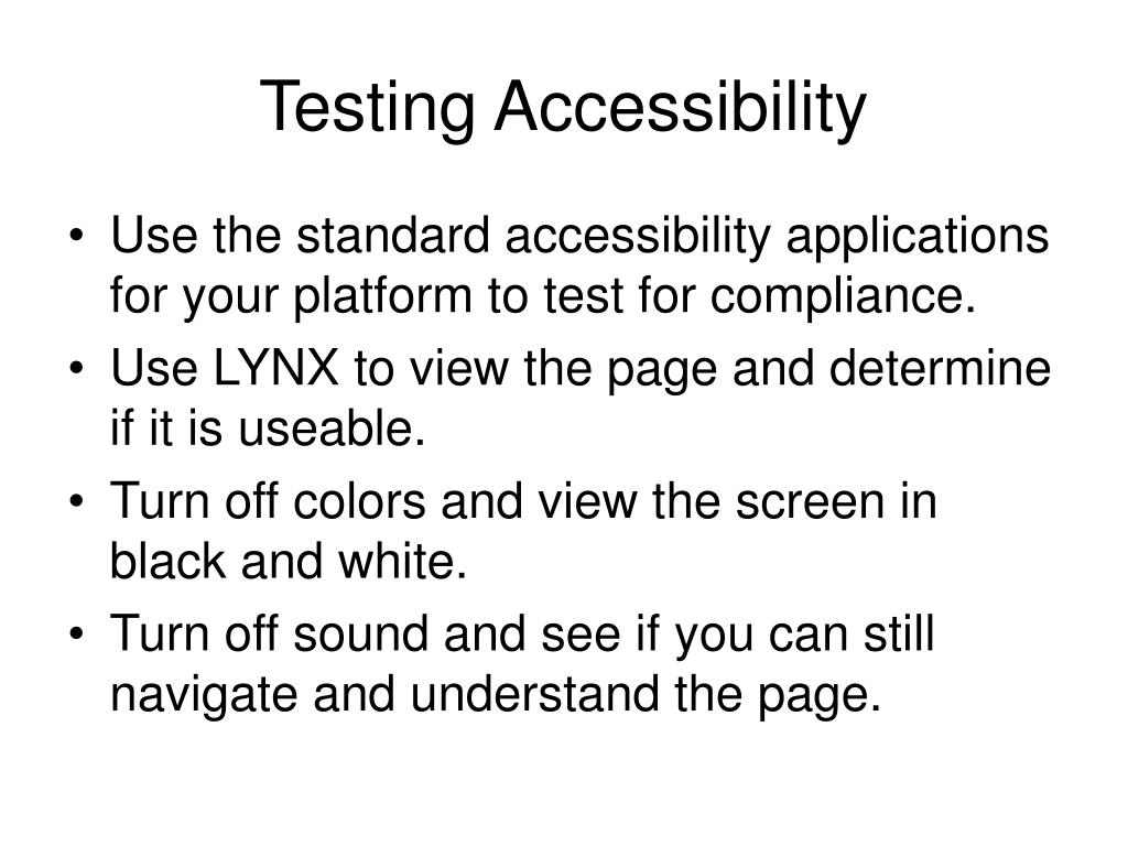 Testing Accessibility