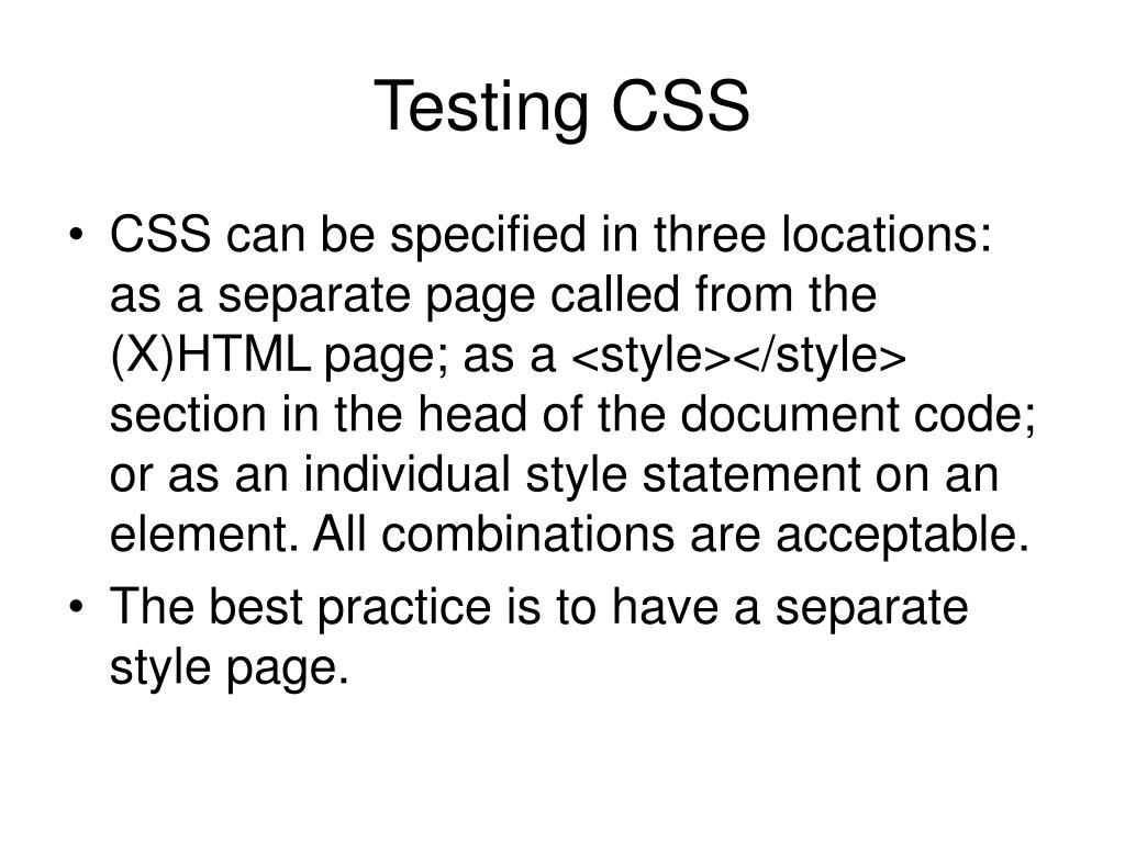 Testing CSS