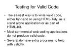 testing for valid code