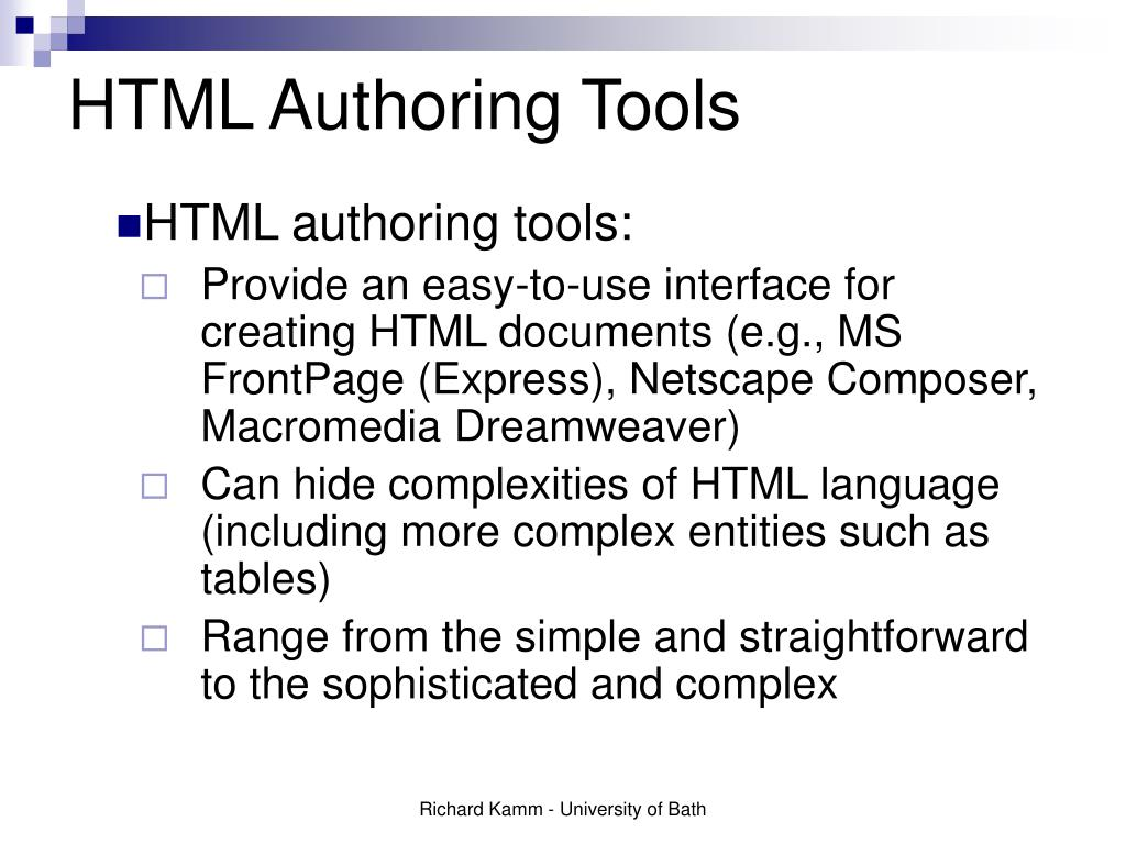HTML Authoring Tools