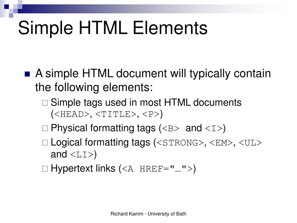 Simple HTML Elements