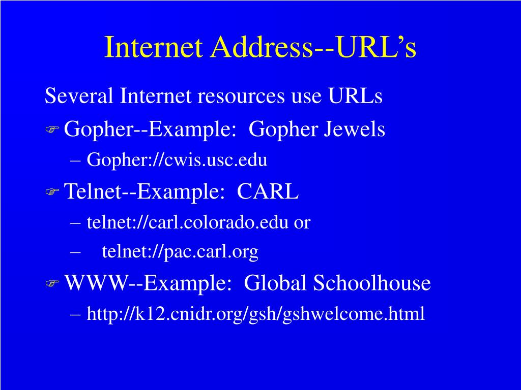 Internet Address--URL's