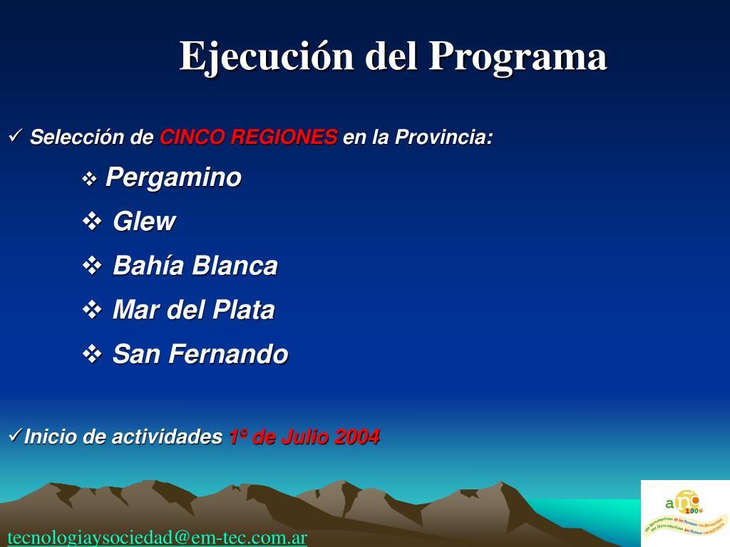 Ejecución del Programa