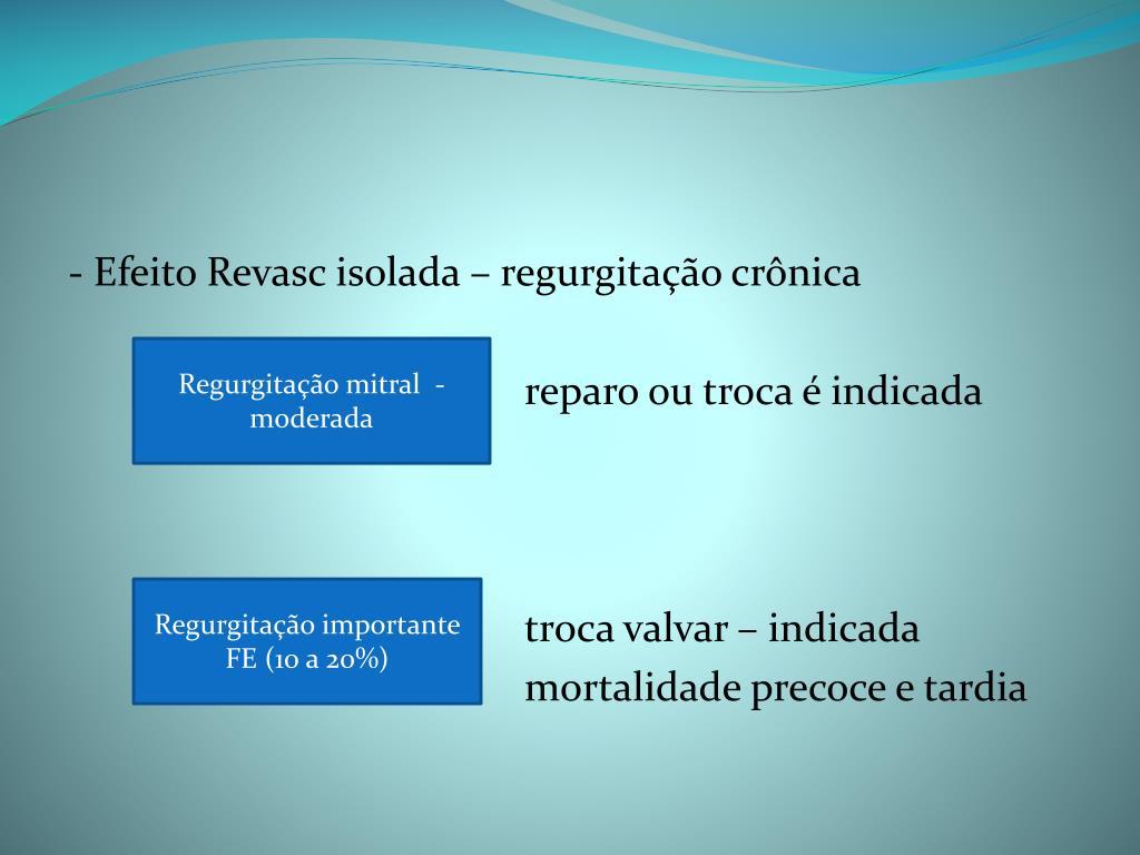 - Efeito Revasc isolada – regurgitação crônica