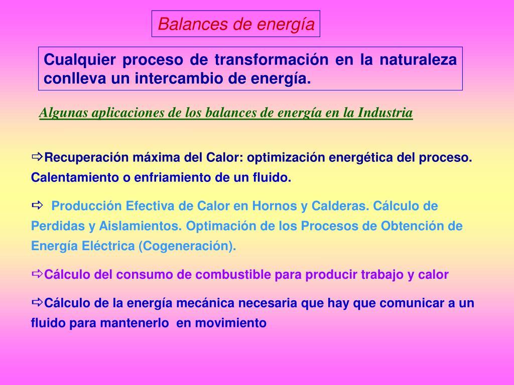 Balances de energía