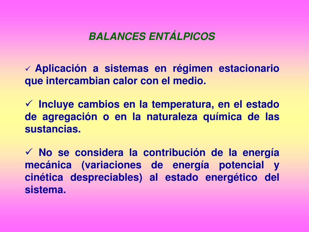 BALANCES ENTÁLPICOS