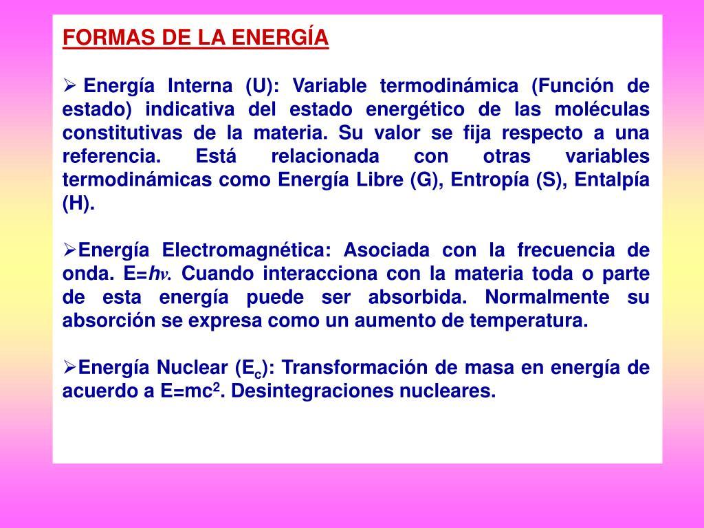 FORMAS DE LA ENERGÍA