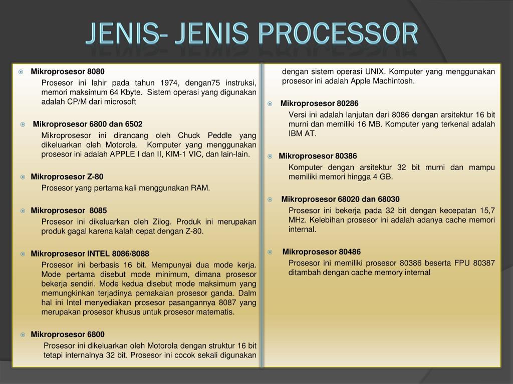 JENIS- JENIS PROCESSOR