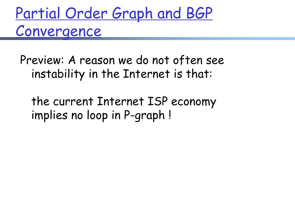 Partial Order Graph and BGP Convergence