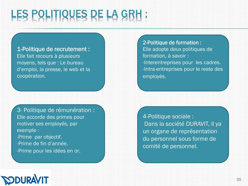 Les politiques de la GRH: