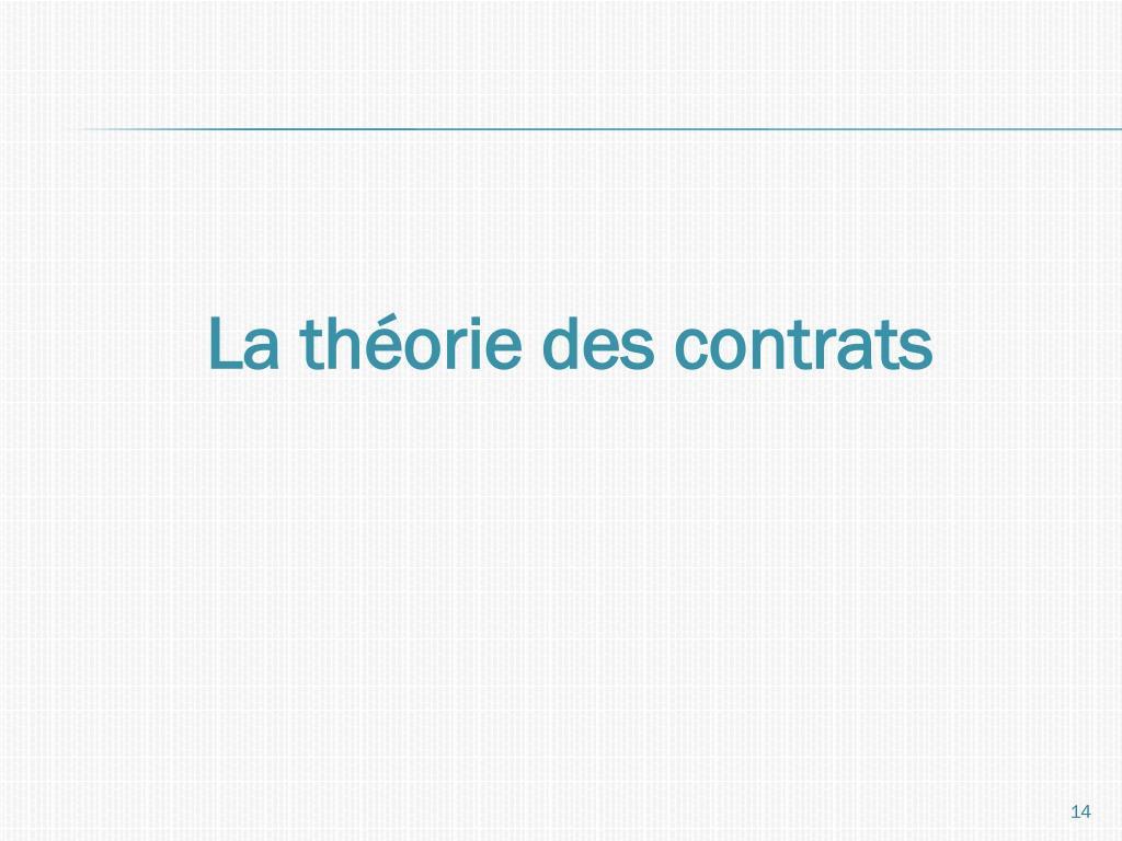La théorie des contrats