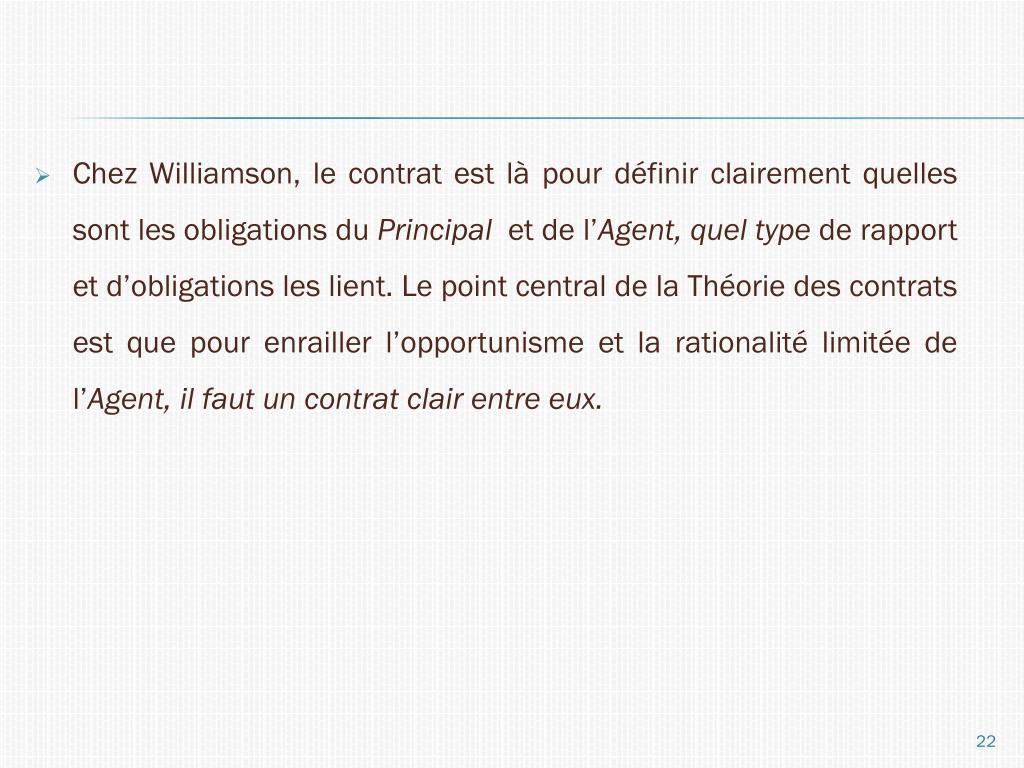 Chez Williamson, le contrat est là pour définir clairement quelles sont les obligations du