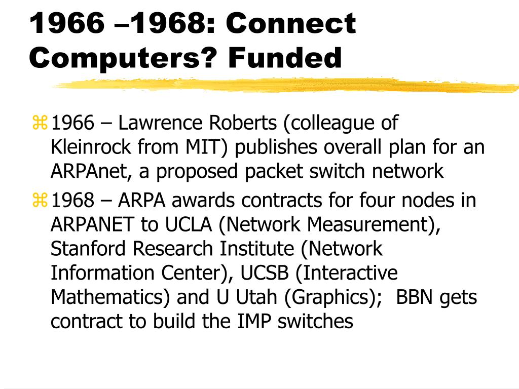 1966 –1968: Connect Computers? Funded