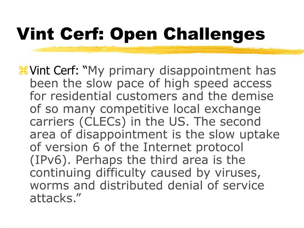 Vint Cerf: Open Challenges
