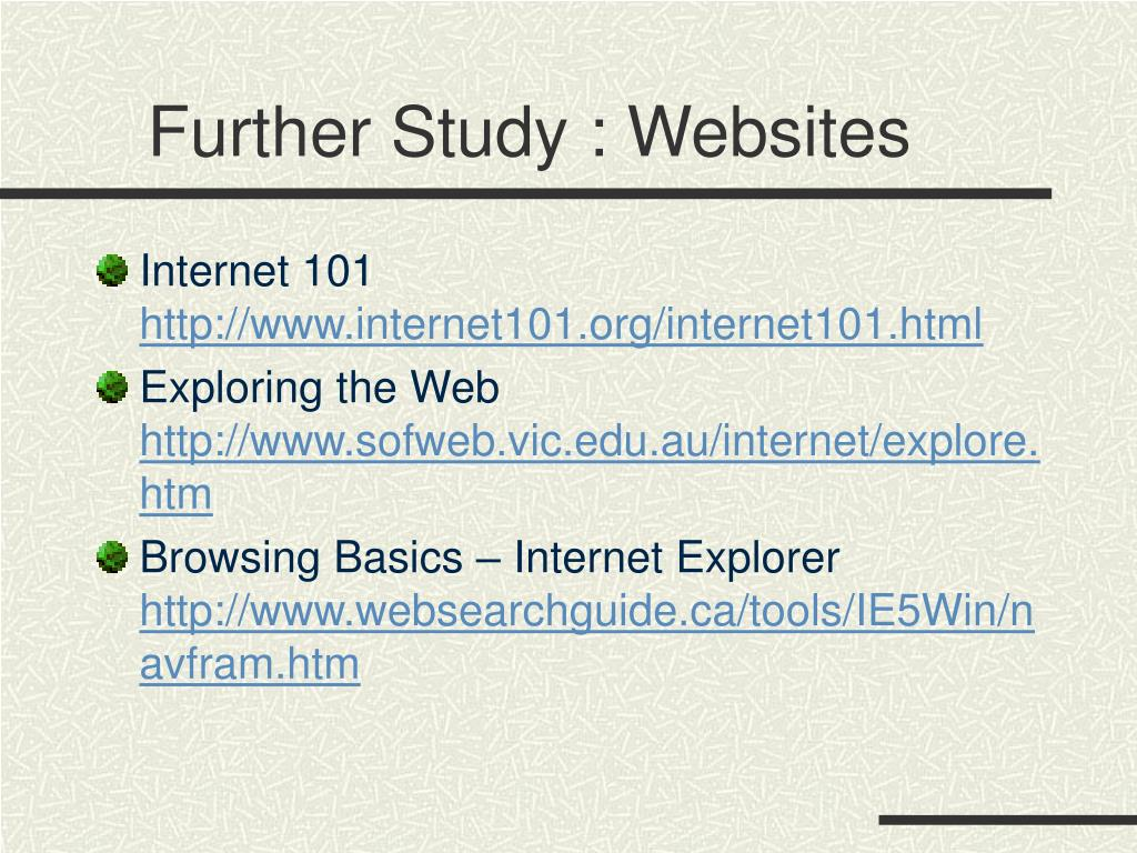 Further Study : Websites