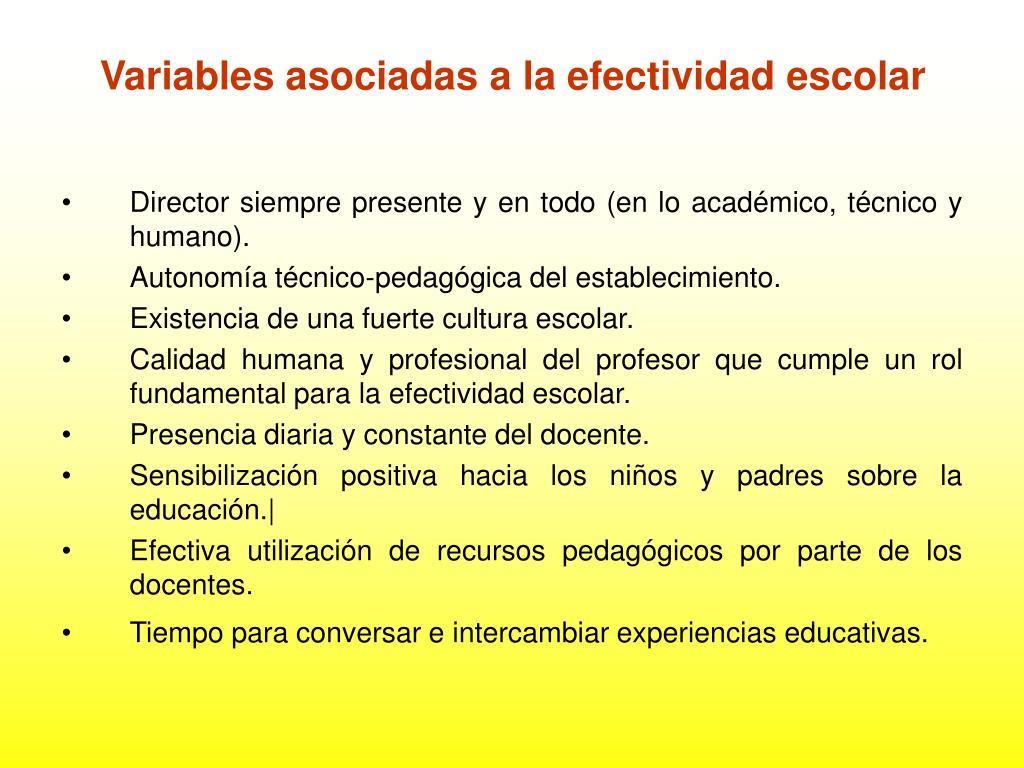 Variables asociadas a la efectividad escolar