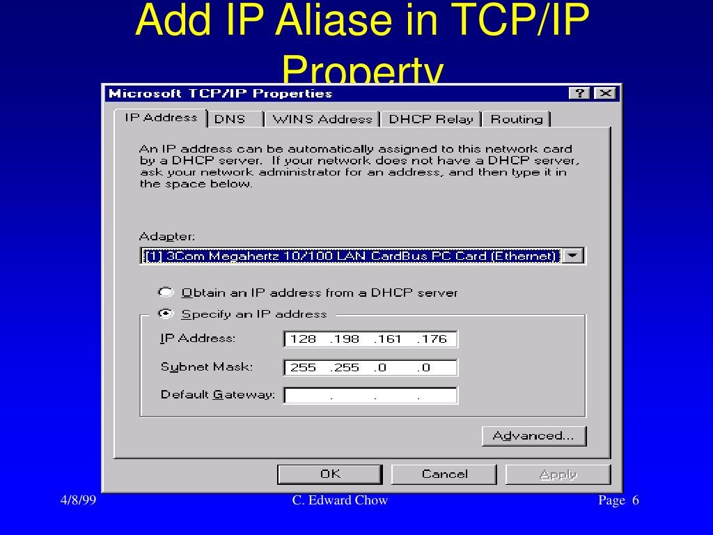 Add IP Aliase in TCP/IP Property