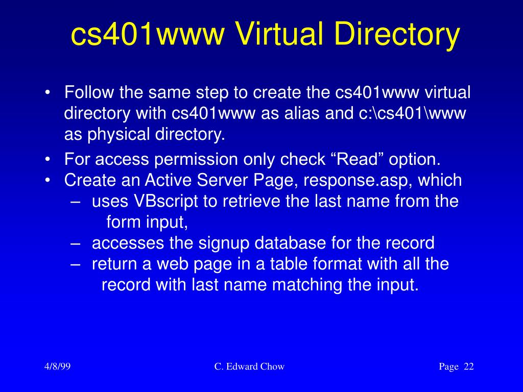 cs401www Virtual Directory