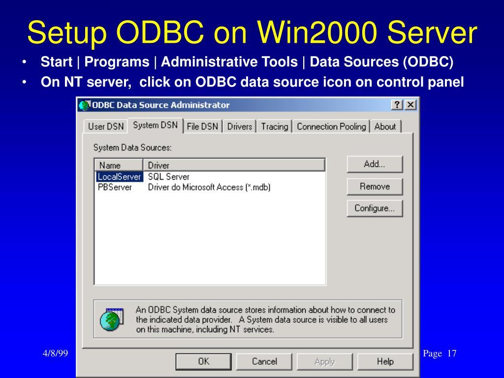Setup ODBC on Win2000 Server