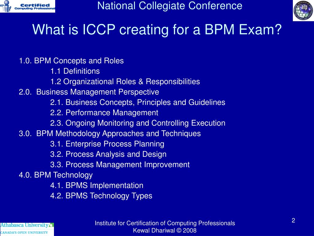 What is ICCP creating for a BPM Exam?