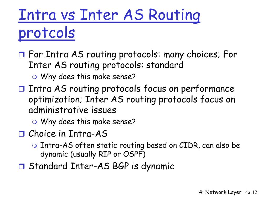 Intra vs Inter AS Routing protcols