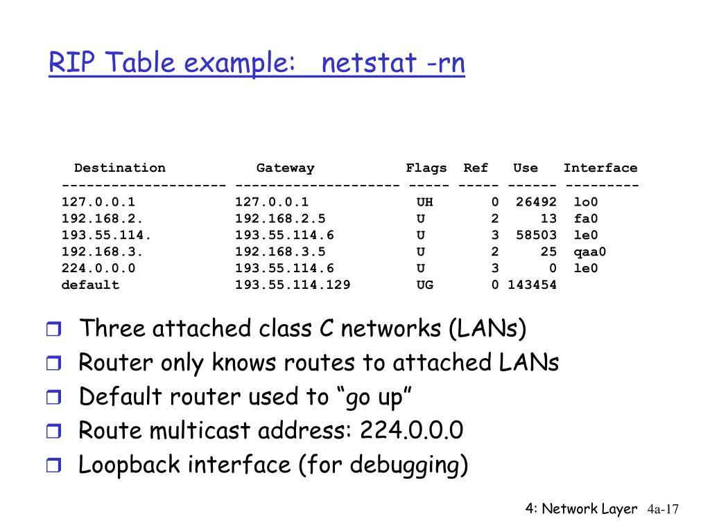 RIP Table example:   netstat -rn