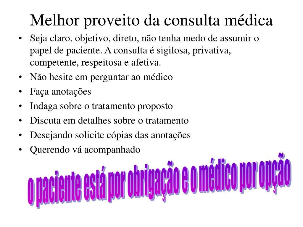 Melhor proveito da consulta médica
