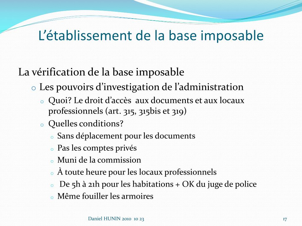 L'établissement de la base imposable