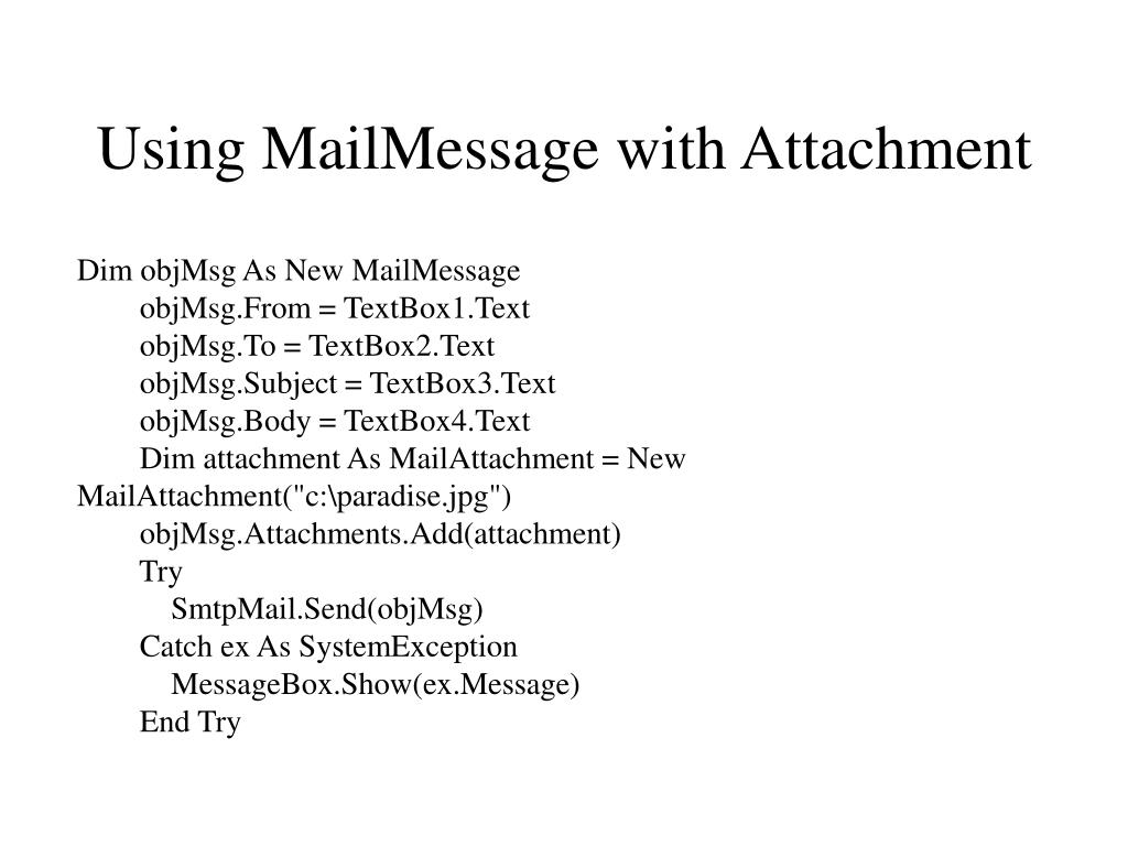 Using MailMessage with Attachment