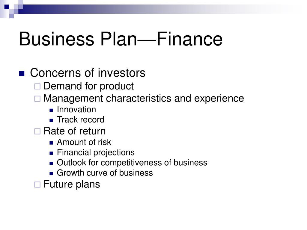 Business Plan—Finance