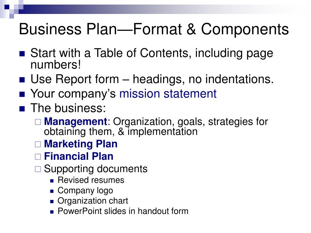 Business Plan—Format & Components