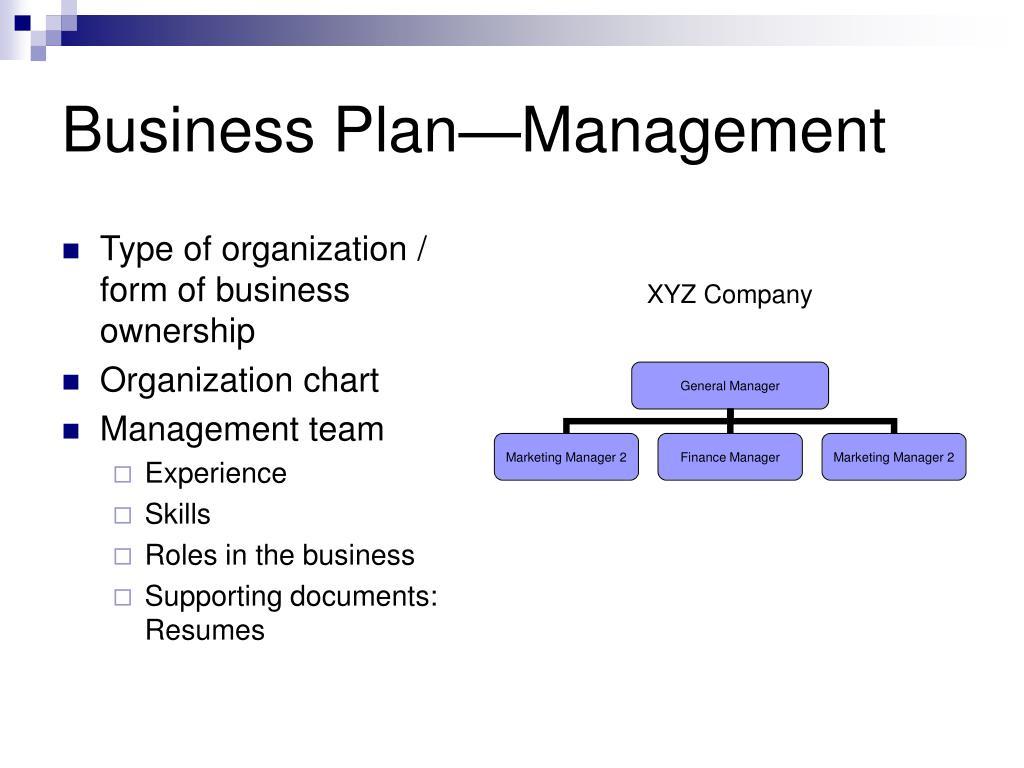 Business Plan—Management
