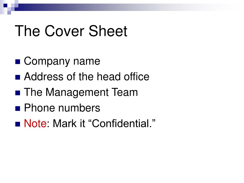 The Cover Sheet