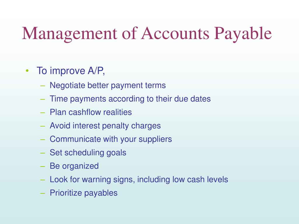 Management of Accounts Payable